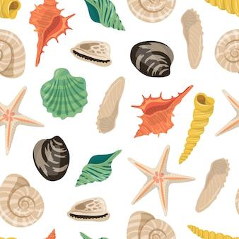 Patrón o ilustración de conchas de mar de dibujos animados