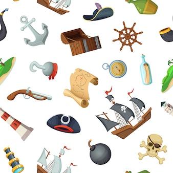 Patrón o ilustración de piratas marinos de dibujos animados