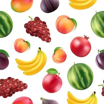 Patrón o ilustración realista de frutas y bayas