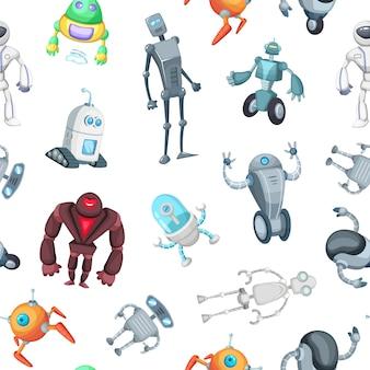 Patrón o ilustración de robots de dibujos animados