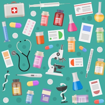 Patrón de objetos médicos con prescripción de equipos e instrumentos, píldoras y cápsulas.