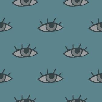 Patrón de ojo sin costura minimalista. fondo azul pálido pastel con elementos grises.