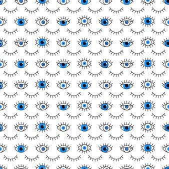 Patrón de ojos cerrados y abiertos en estilo de línea.