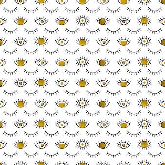 Patrón de ojos dorados en estilo de línea.