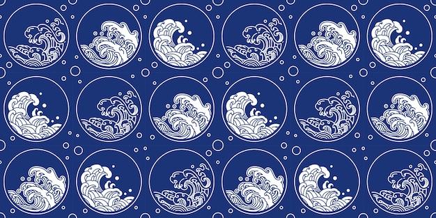Patrón de onda chino estilo oriental forma redonda