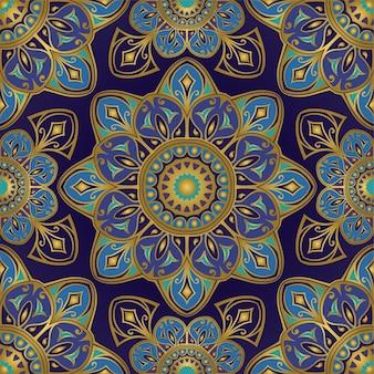 Patrón oriental azul y dorado con mandalas.