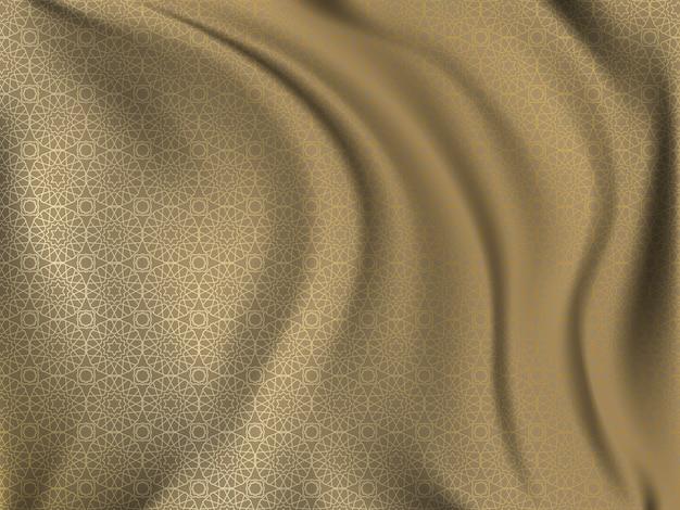 Patrón oriental dorado sobre tela de seda ondulada.