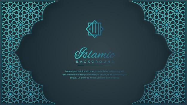Patrón ornamento árabe islámico con marco bordes sobre fondo azul