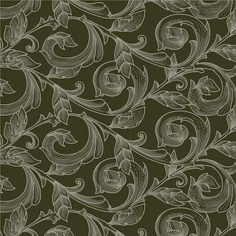 Patrón de ornamento floral victoriano vintage