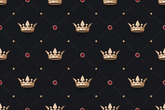 Patrón de oro sin costura y corona de rey con diamante