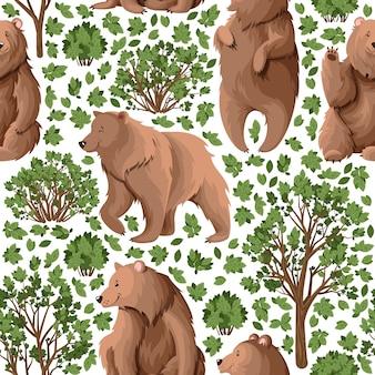 Patrón con osos en el bosque.