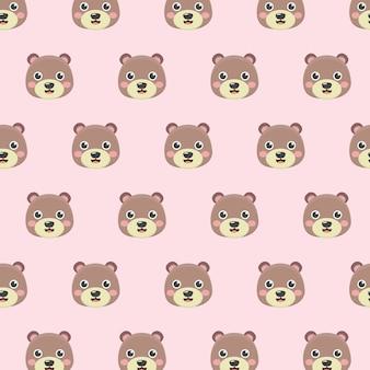 Patrón con osos de peluche sobre fondo pastel.