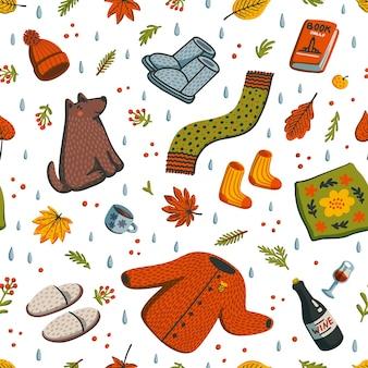 Patrón de otoño sin costuras