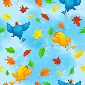 Patrón de otoño con divertidos pájaros bailando y brillantes hojas caídas