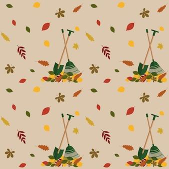 Patrón de otoño con follaje de otoño y herramientas de jardín. vector