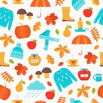 Patrón de otoño con hojas de otoño, paraguas y suéter.