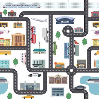 Patrón de paisaje urbano con diferentes comercios, edificios, oficinas y transporte.