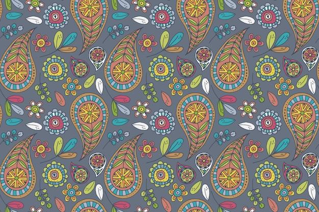 Patrón de paisley colorido