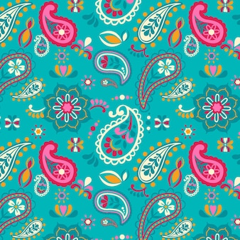 Patrón de paisley de decoración floral adornado