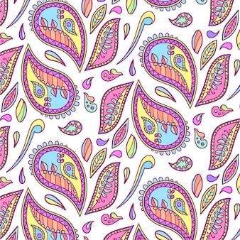 Patrón de paisley dibujado colorido