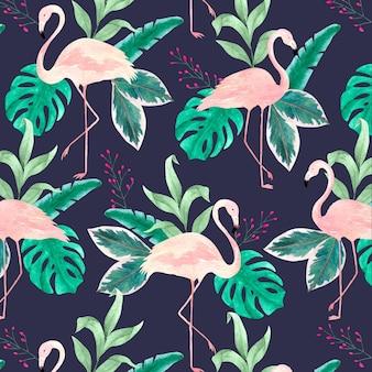 Patrón de pájaro flamenco rosado con hojas tropicales