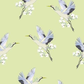 Patrón de pájaros grulla