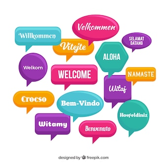 Patrón con palabara bienvenido en distintos idiomas