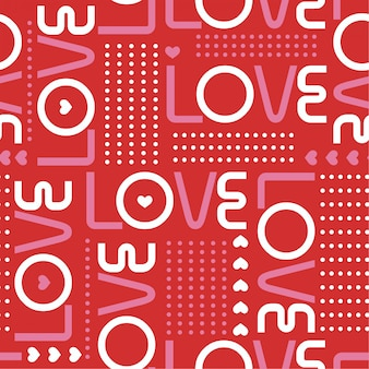 Sin patrón, con palabras de amor y mini corazones con una línea de lunares circulares i