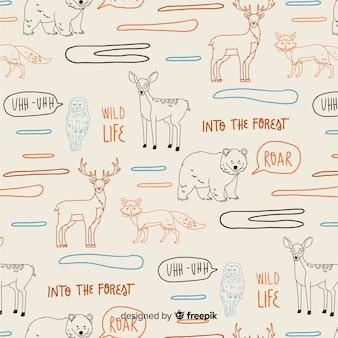 Patrón palabras y animales del bosque dibujado a mano