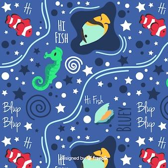 Patrón palabras y animales marinos dibujado a mano