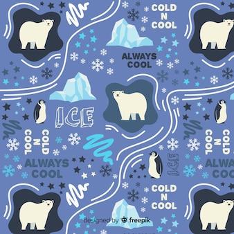 Patrón palabras y animales polares dibujado a mano