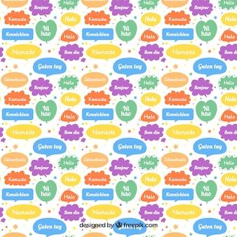 Patrón de palabras hola en diferentes idiomas
