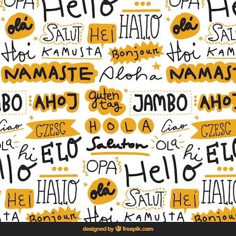 Patrón de palabras de hola en lenguajes diferentes