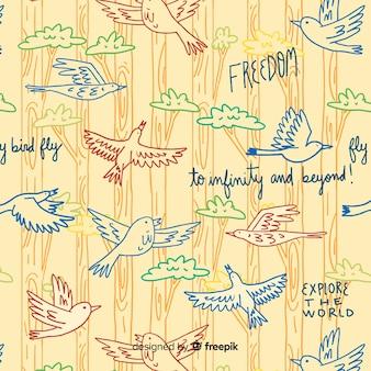 Patrón palabras y pájaros volando dibujado a mano