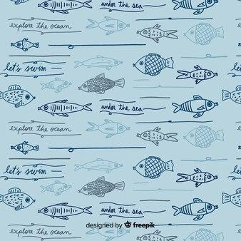 Patrón palabras y peces dibujado a mano