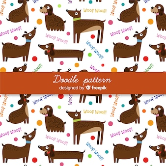 Patrón palabras y perros dibujado a mano
