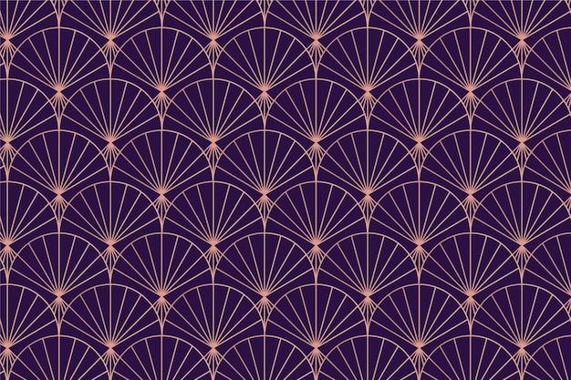 Patrón de palma art deco de oro rosa