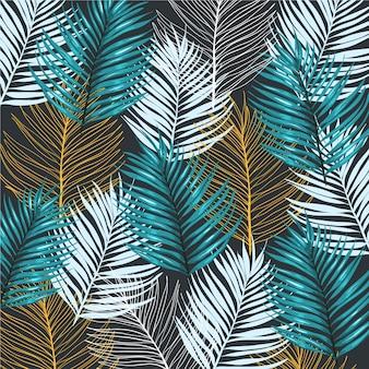 Patrón de palmeras fondo de la selva