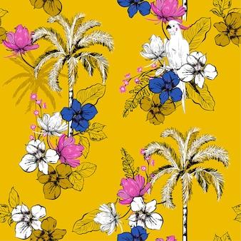 Un patrón de palmeras de verano brillante