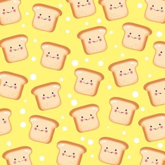Patrón de pan tostado lindo y divertido sonriendo