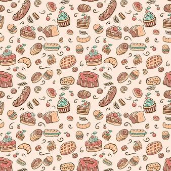Patrón de panadería sin costuras, línea dibujada a mano con color digital