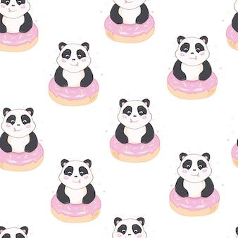Patrón de panda sin costuras