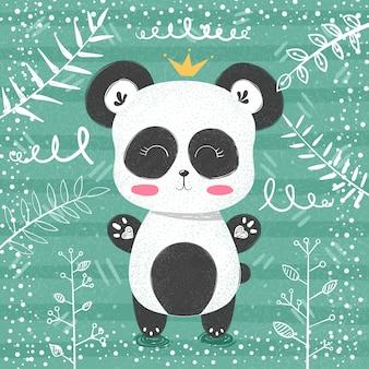 Patrón de panda lindo pequeña princesa