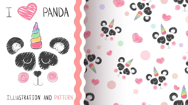 Patrón de panda y unicornio.