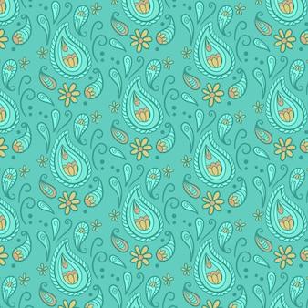 Patrón de pañuelo paisley azul gotas abstractas