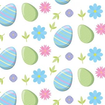 Patrón de pascua con huevos y flores.
