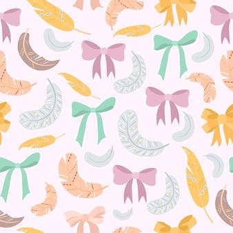 Patrón pastel con arcos y plumas