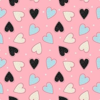 Patrón pastel con corazones dibujo transparente
