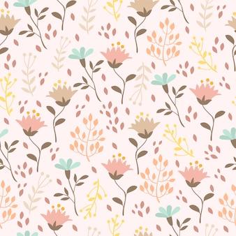 Patrón pastel con plantas y flores