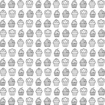 Patrón de pastel de taza blanco y negro